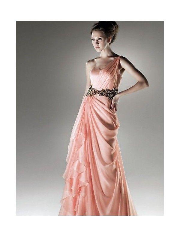 Chiffon One-shoulder Dress with Front Ruffles Fashion