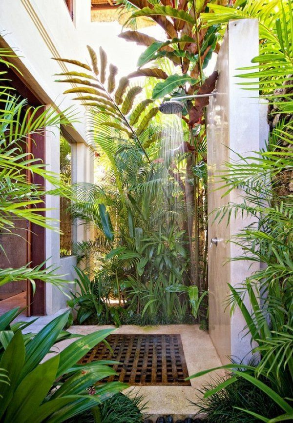 Outdoor Shower Enclosures Tropical Decor Small Patio Design Ideas
