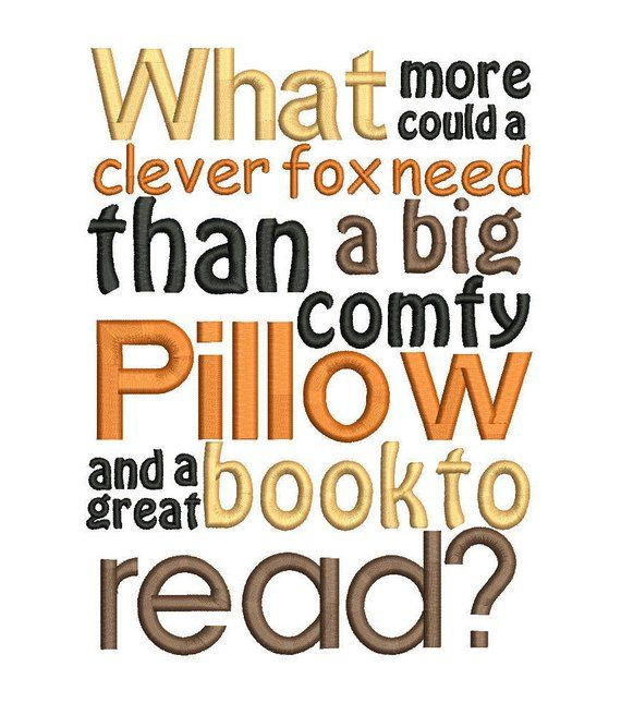 Fox reading cushion book pocket pillow embroidery machine design file applique and quote 3 sizes included instant download