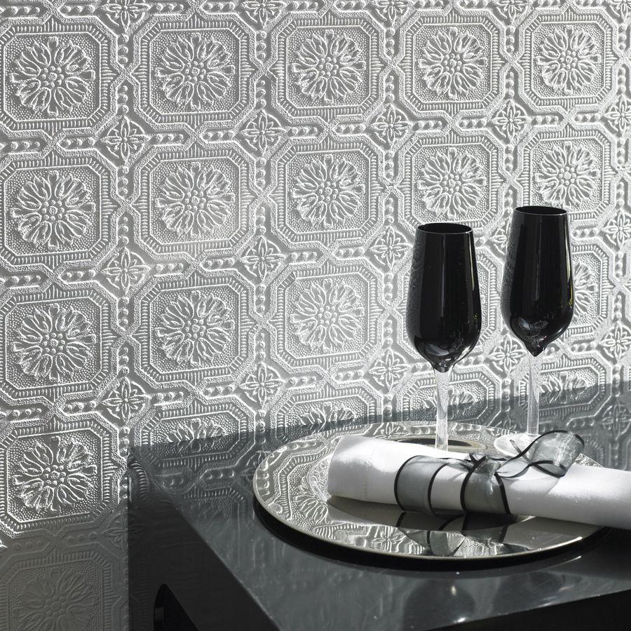Shop allen + roth Paintable Ceiling Tiles Wallpaper at