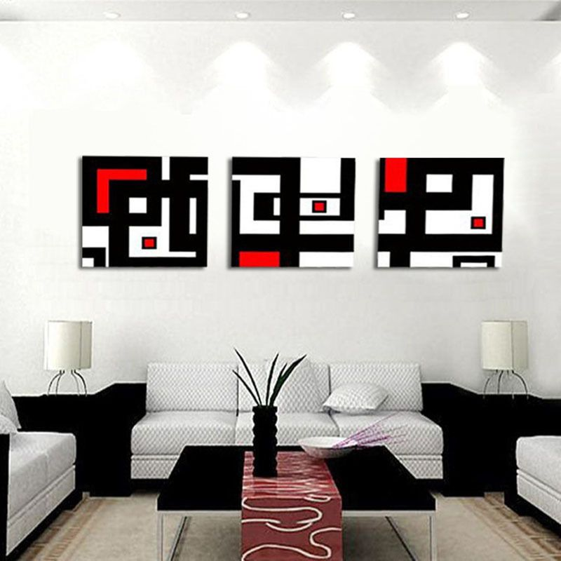 Unframed 3 Panel Abstract Picture White Red And Black Geometric Figure Wall Art Painting Print Canvas For Home Decoration