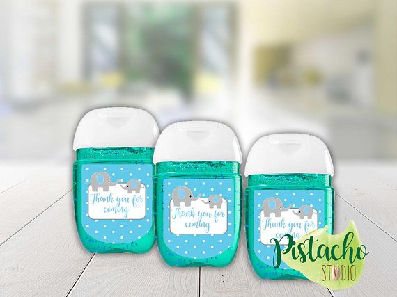 Printable Boy Baby Shower Sanitizer Label Teal And Light Gray