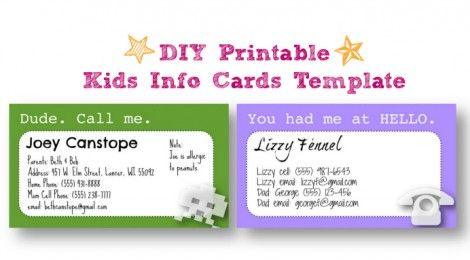 DIY PRINTABLE KIDS INFO CARDS TEMPLATE Would be good to keep quick