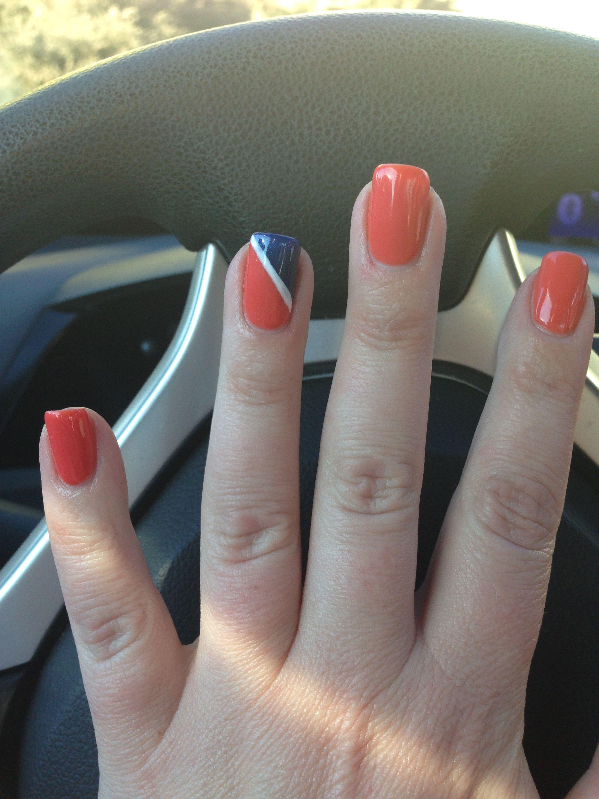 Denver Bronco Shellac Manicure | Nails | Pinterest | Shellac ...