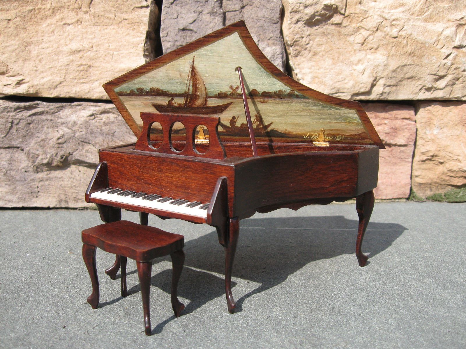 Signed Artisan Dollhouse Piano by Ralph Partelow