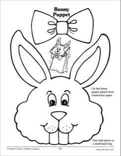 bunny paper bag puppet pattern coloring pages including holidays