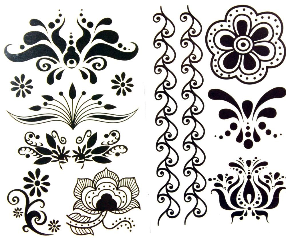 latest LW hot selling 1 package with 2pcs waterproof black flower and vine temporary tattoos [XPWS1005] - $3.99 - GGSell.com, Sell your fash...