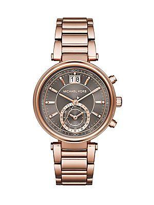 Michael Kors Sawyer Rose Goldtone Stainless Steel Subdial Bracelet Watch