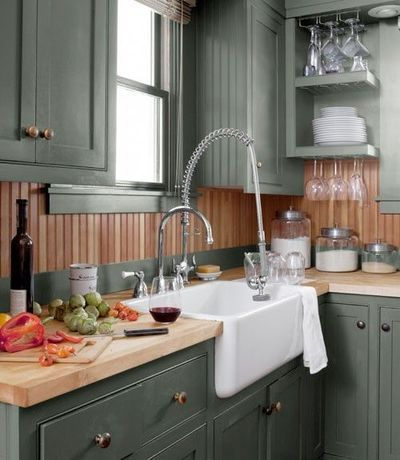 Hunter Green Cabinets And Fir Beadboard Backsplash Plus An