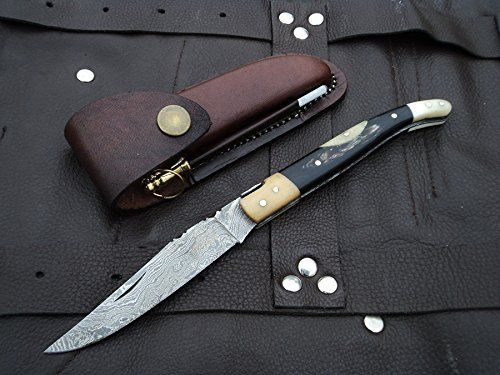 """NEW YEAR SPECIAL ! DKC-776 BODEGA Laguiole Damascus Steel Folding Pocket Knife White/Black Bone 2.5oz 8""""Long 3"""" Blade (Damascus Steel). DKC-776 BODEGA Damascus Steel Laguiole Folding Pocket Knife White/Black Bone 2.5oz 8""""Long 3"""" Blade. Incredible Look and Feel Compare to Knives 2 to 4 times the cost. HAND CRAFTED ! See our full line of DKC Knives TM. Swanky pocket knife. Very unique /Collectors Knife Feels Great In Your Hand and Pocket ! Great For Personal Use, Or A Fine Gift DKC KNIVES..."""