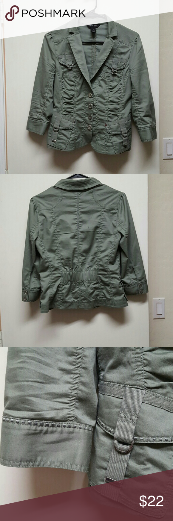 Military/cargo light jacket *PRICE DROP! Olive green with 3/4 sleeves, silver buttons & buckles, and unique stitching. Rouched in places with back waistband for shape. Barely worn. Machine wash. White House Black Market Jackets & Coats Blazers