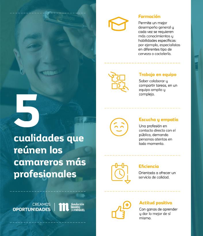 Infografía 5 cualidades que reúnen los camareros profesionales