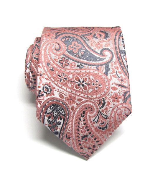 Mens Ties Coral Peach Gray Silver Paisley Mens Silk by TieObsessed