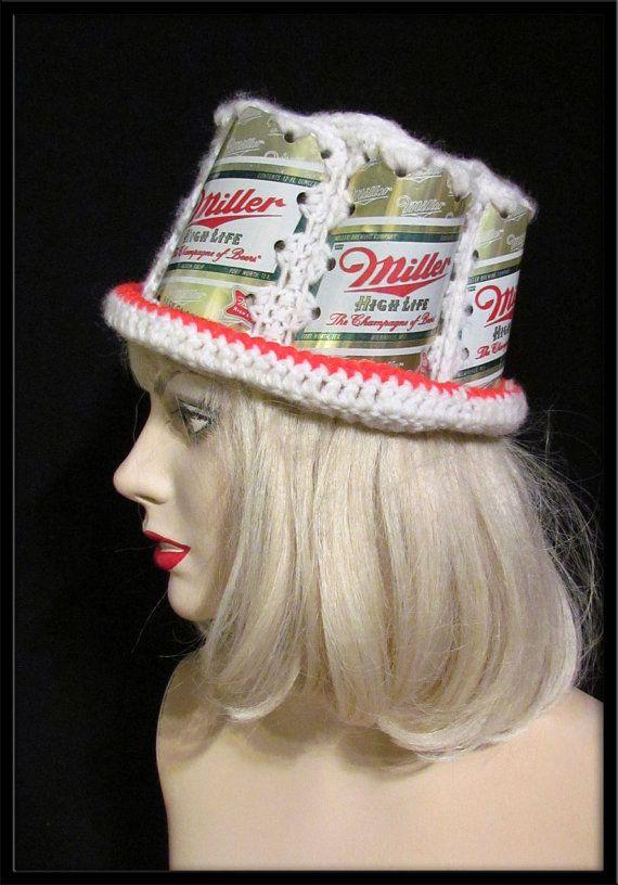 Vintage Miller Red beer can hat knitted crochet