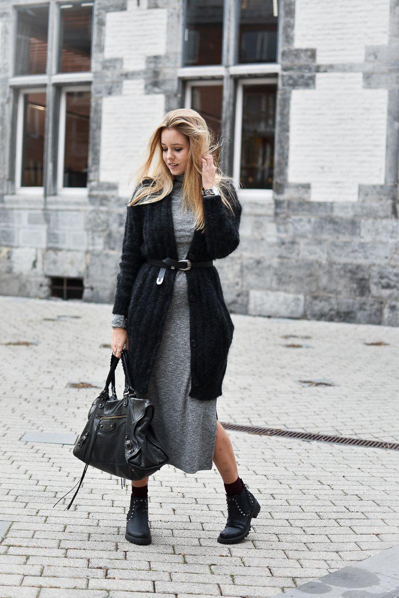 robe longue c tel e et gilet oversize fashion fashion dresses fall outfits et cute outfits. Black Bedroom Furniture Sets. Home Design Ideas