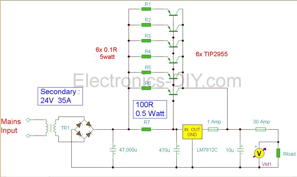 12v Power Supply 30a Power Supply Circuit Power Supply Circuit Diagram