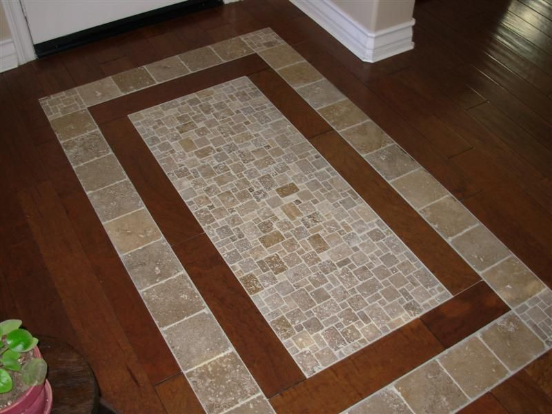 Bamboo Floor With Tile Inlay Google Search Home Ideas