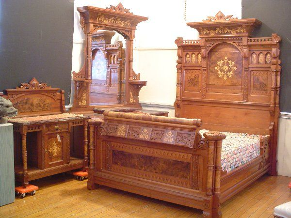 512:AESTHETIC INLAID INCISED 3PC MARBLE TO BED SET 2901 On