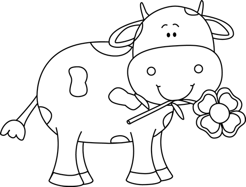 Black And White Cow With A Flower In Its Mouth Clip Art Black And White Cow With A Flower In Its Mouth Cow Clipart Cow Coloring Pages Black And White Cartoon