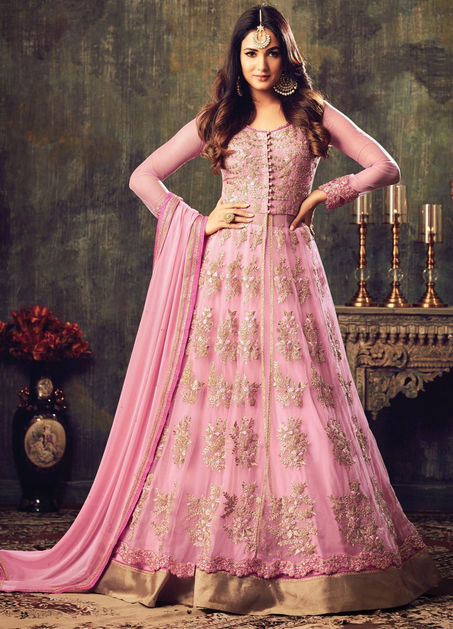 39615ba623 Buy Sonal chauhan pink color net party wear anarkali suit 4708 online in  USA, UK and Canada from KollyBollyEthnnics.com