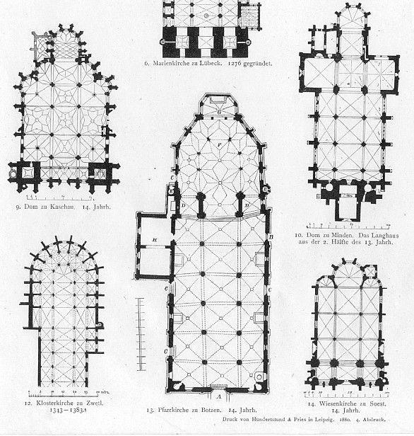 German Church Floor Plans Gothic Architecture Print :: Architectural Styles  :: Architectural ::