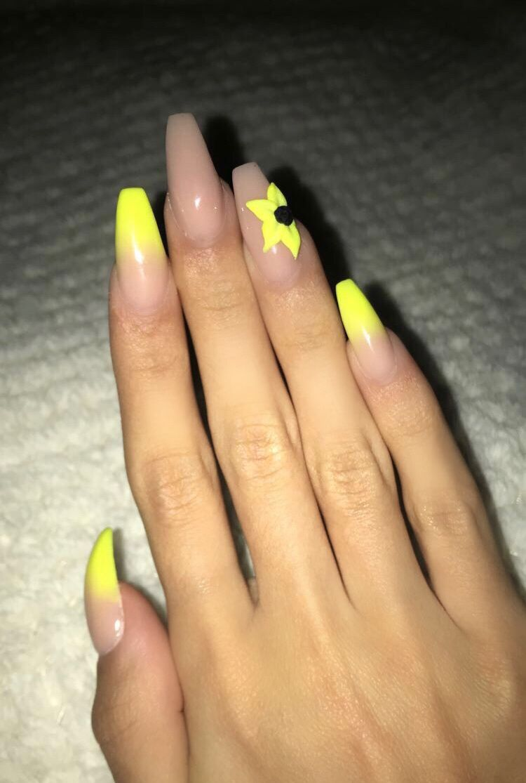 Neon Yellow Summer Vibes Acrylic Nails Neon Yellow Nails Acrylic Nails Yellow Nails