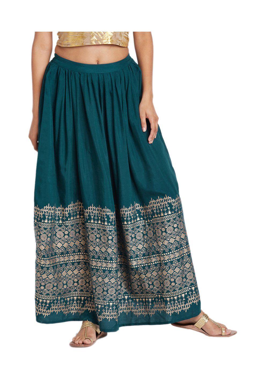 7399dfddb4 Global Desi Teal Printed Skirt -   999.50   Shorts & Skirt Design ...