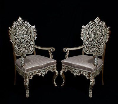 Interiors · a Pair of Antique Ottoman Turkish, SYRIAN mother of pearl inlaid  Wood Arm Chairs - Vans Unisex Authentic Skate Shoe Wood Arm Chair, Ottomans And Woods