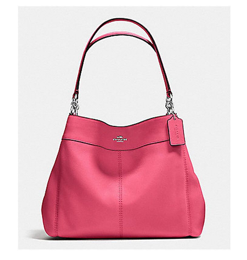COACH Lexy Leather Shoulder Bag F 57545 Satchel Tote Purse Strawberry silver NWT #Coach #ShoulderBagSatchelbag