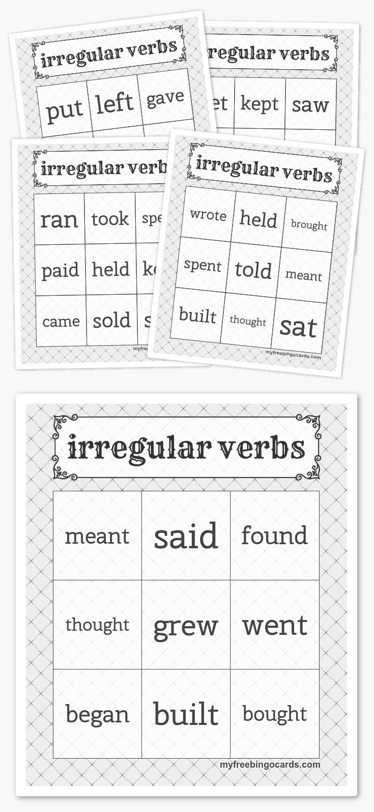 Irregular Verbs Bingo Bingo Cards Free Printable Bingo Cards Free Bingo Cards [ 1595 x 735 Pixel ]