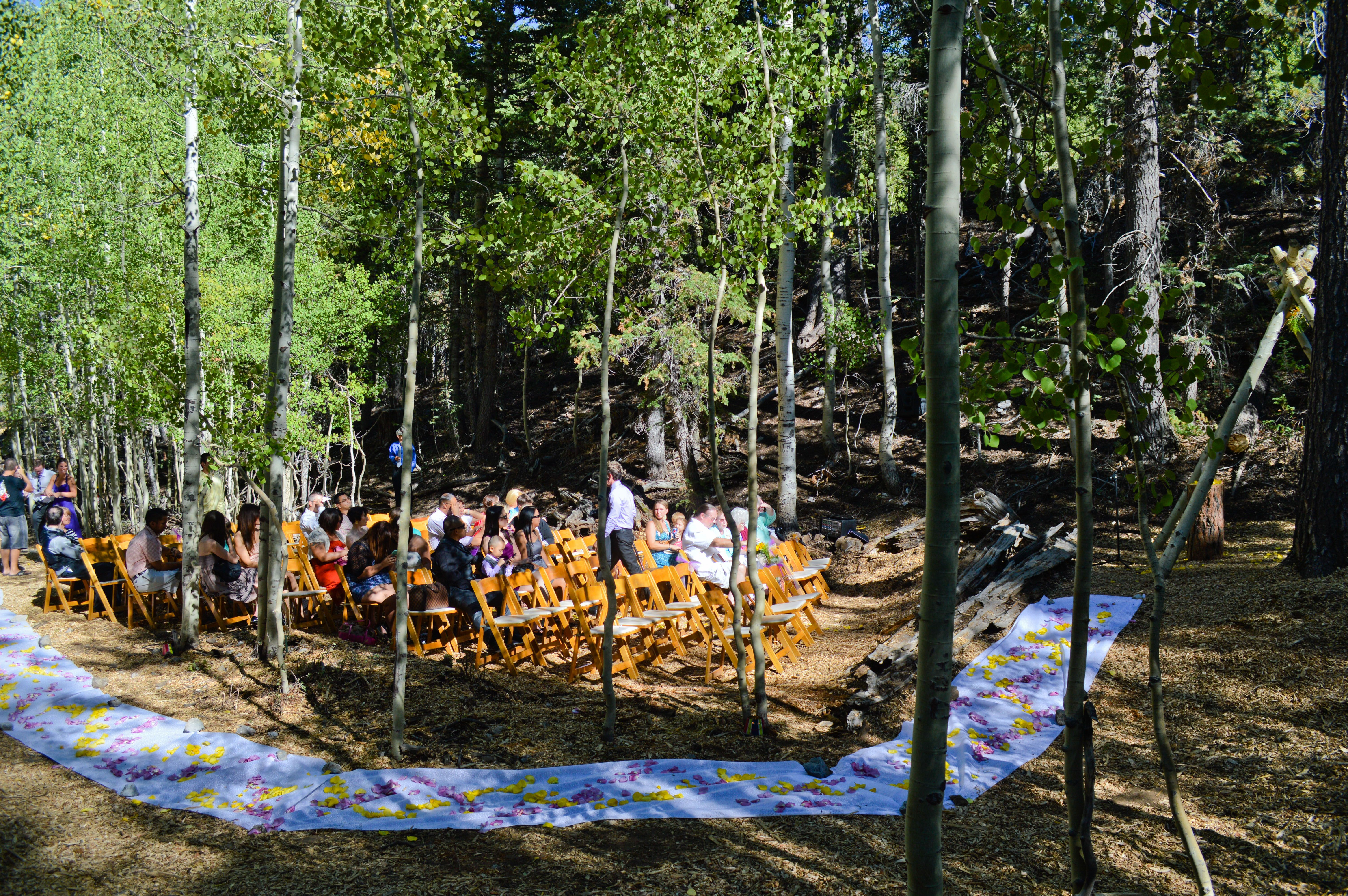 wedding in the woods at las vegas ski and snowboard resort. outdoor