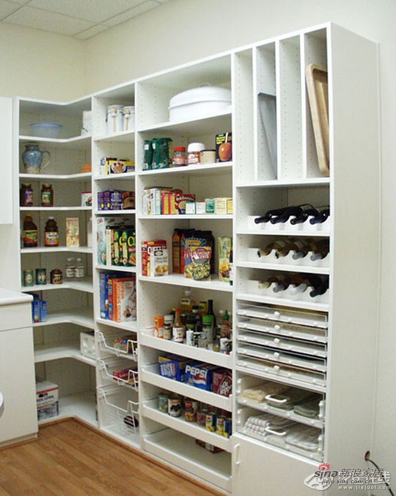 L shaped pantry one wall shelves corner shelf other for Kitchen pantry plans