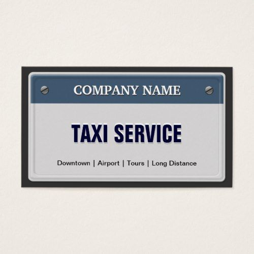 Limo & Taxi Service - Cool Licensed Plate Business Card