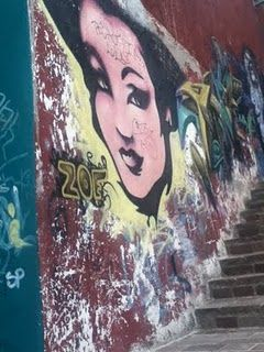 A mural on El Pipila stair case, i looks 50's style mixed with urban. Taken in GTO, Mexico
