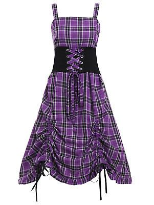 plus size women vintage gothic check lace up corset