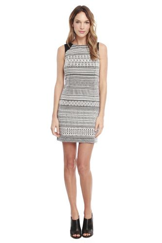 Wear this tribal graphic shift dress with your favorite black pumps for a polished yet trendy look.
