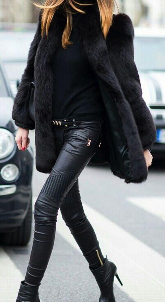 black on black ! faux fur coat, leather pants, high heel booties.