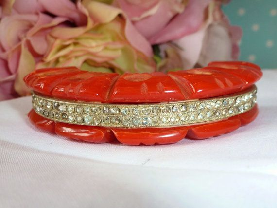 Vintage Red Bakelite Heavy Carved Huge Red by vintagelady7 on Etsy, $59.99