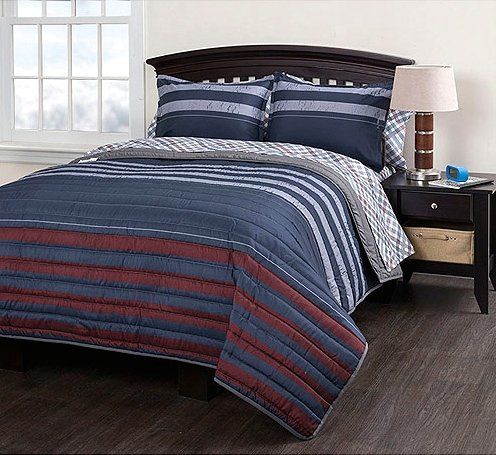 Rugby Striped Twin XL Quilt Coverlet, Sheets, Sham U0026 Home Style Exclusive  Sleep Mask Pc Bedding Bundle) Navy Gray