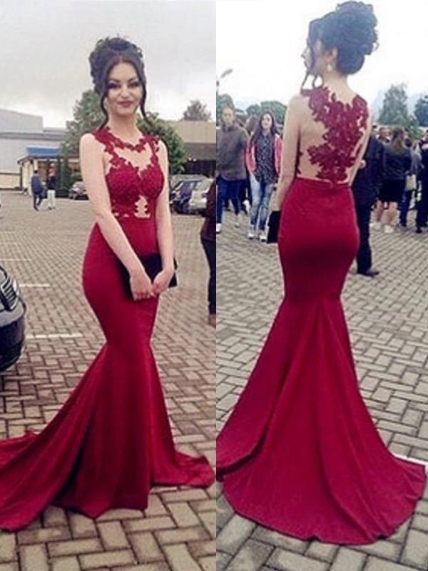Prom Dress Beautiful, Trumpet/Mermaid Sleeveless Scoop Sweep/Brush Train Applique Satin Dresses YB33PO1736
