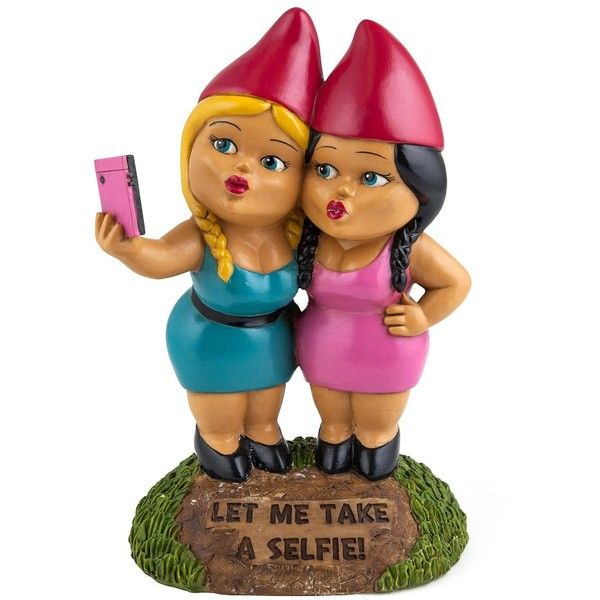 BigMouth Inc. The Selfie Sisters Garden Gnome ($20) ❤ liked on Polyvore featuring home, outdoors, outdoor decor, garden patio decor, garden gnomes, garden decor, outdoor garden decor and patio decor