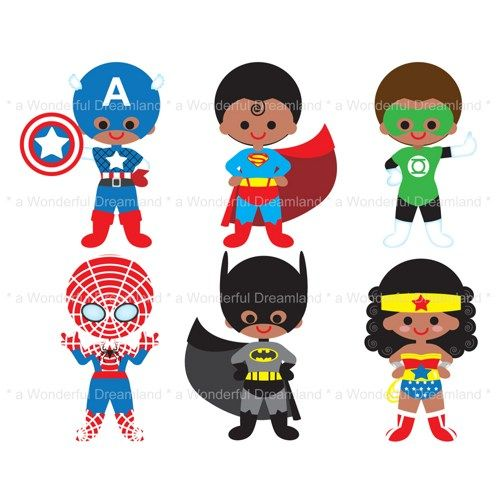 Super Hero Kids Clipart Printable Clip Art Digital Pdf Png File