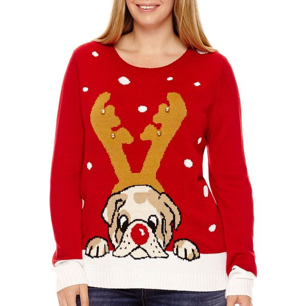 by design long sleeve bulldog christmas sweater 28 liked on polyvore featuring