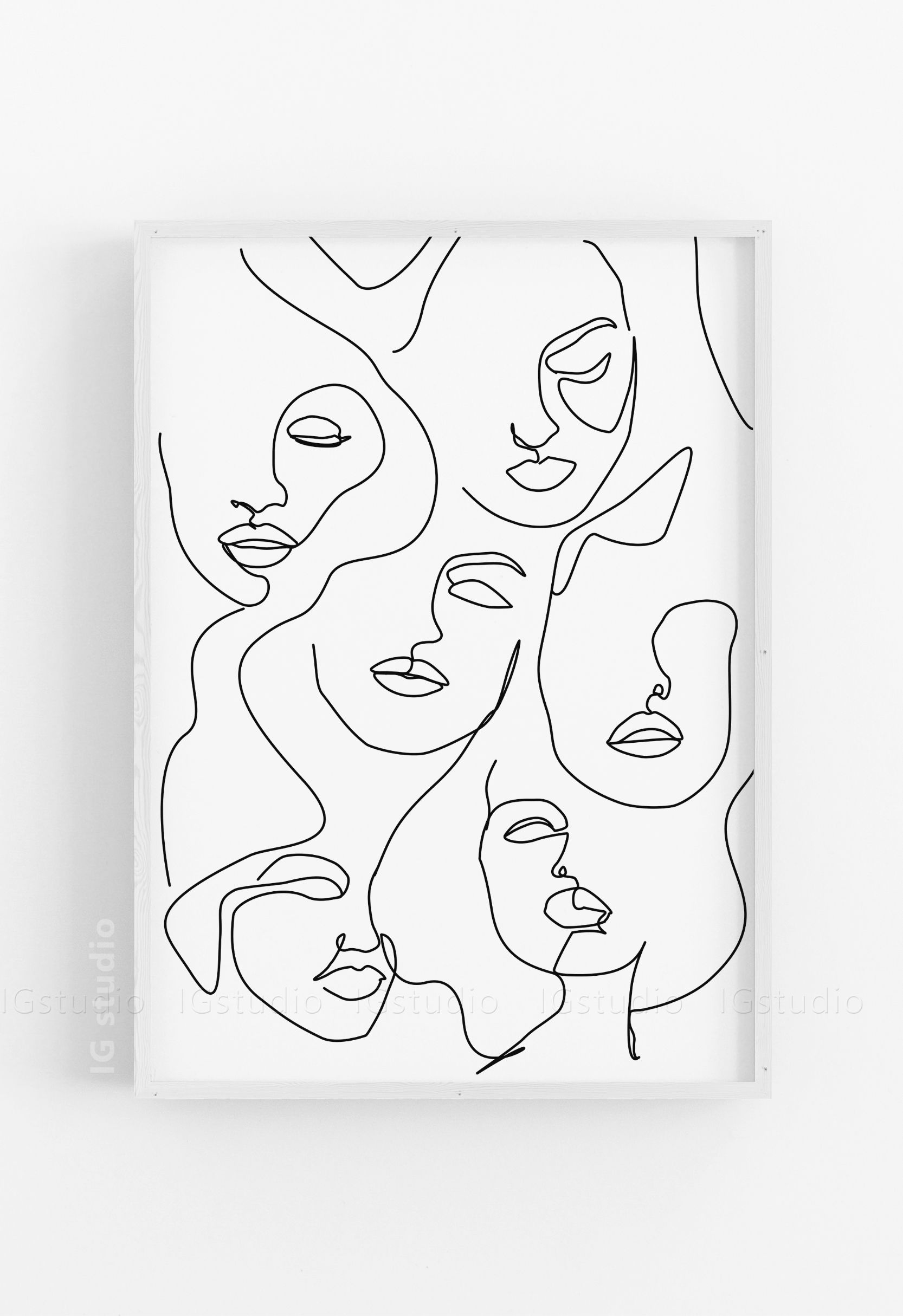 Line Drawing Art Poster Abstract Woman Geometric Canvas Art Print Wall Pictures