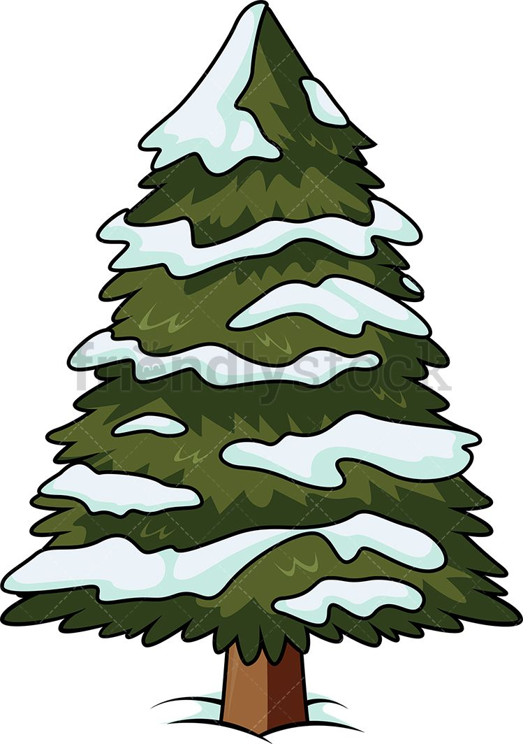Christmas Tree With Snow On It Cartoon Clipart Vector Friendlystock Cartoon Christmas Tree Cartoon Clip Art Christmas Tree With Snow