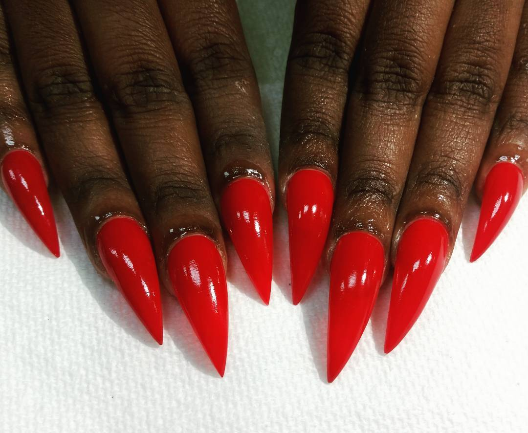 Vamp Dark Skin Stiletto Nails Red Drama Bling Wow