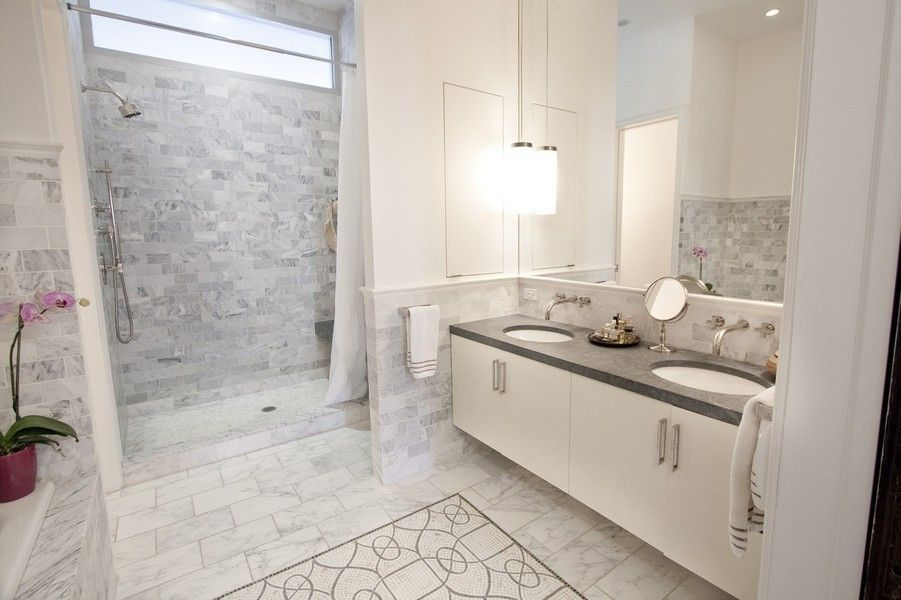 Old world carrera bathroom tile design google search for White carrera marble bathrooms