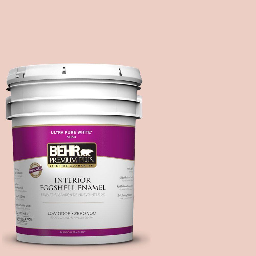BEHR Premium Plus 5-gal. #220E-2 Shrimp Toast Zero VOC Eggshell Enamel Interior Paint