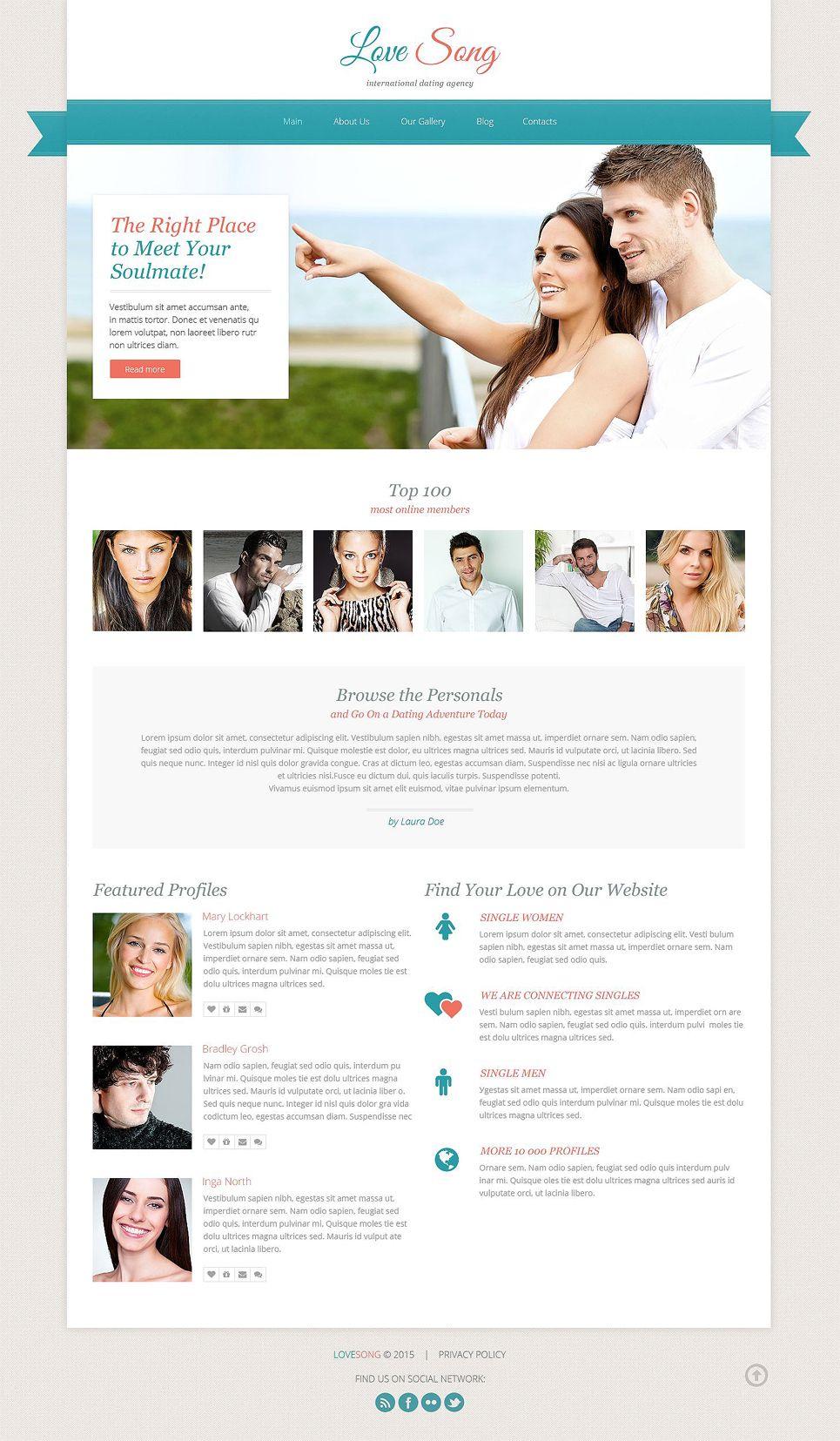 Dating Responsive Website Template Typography Design Pinterest