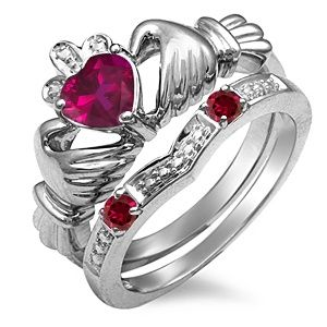 264fea0e565 Jared - Lab-Created Ruby Claddagh Ring White Gold | ruby ruby ...